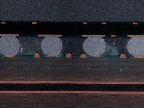 Anschliff wg. Prüfung der Lötqualität  eines BGA - IC